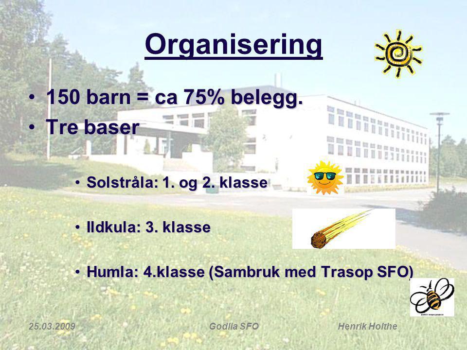 Organisering 150 barn = ca 75% belegg. Tre baser