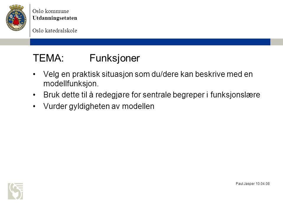 TEMA: Funksjoner Velg en praktisk situasjon som du/dere kan beskrive med en modellfunksjon.
