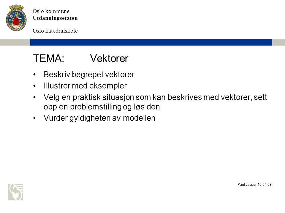 TEMA: Vektorer Beskriv begrepet vektorer Illustrer med eksempler