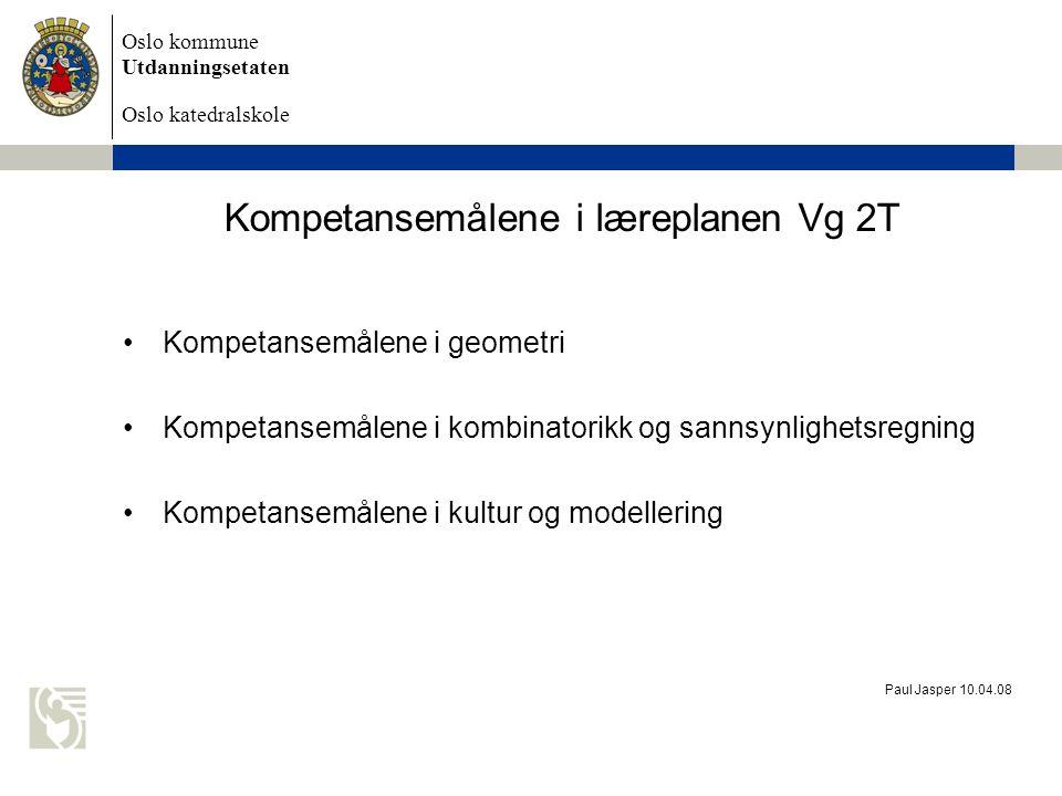 Kompetansemålene i læreplanen Vg 2T