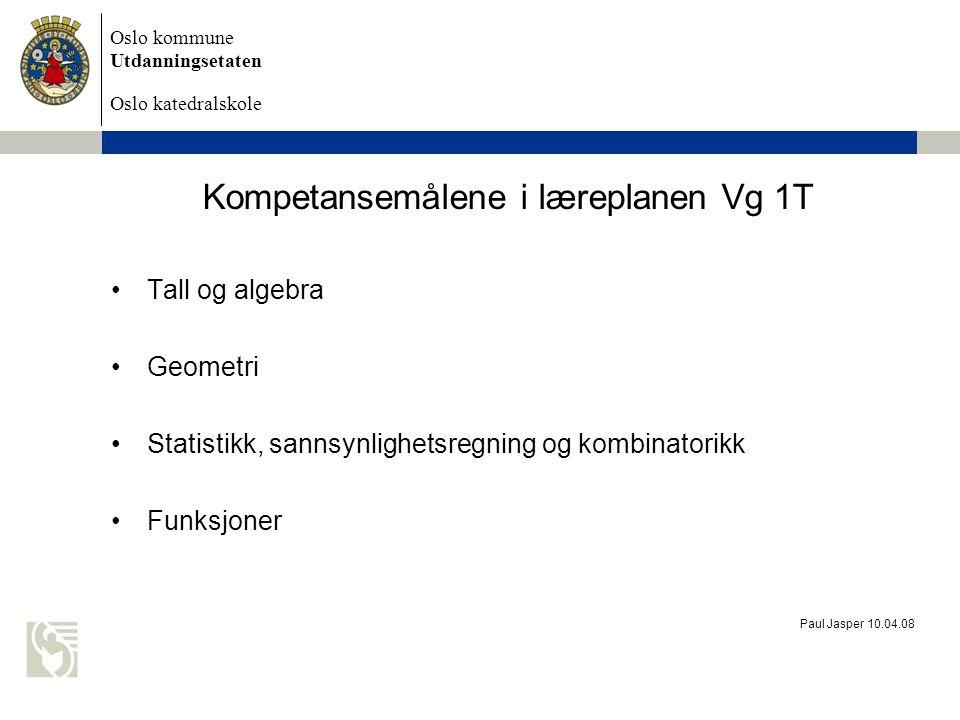 Kompetansemålene i læreplanen Vg 1T