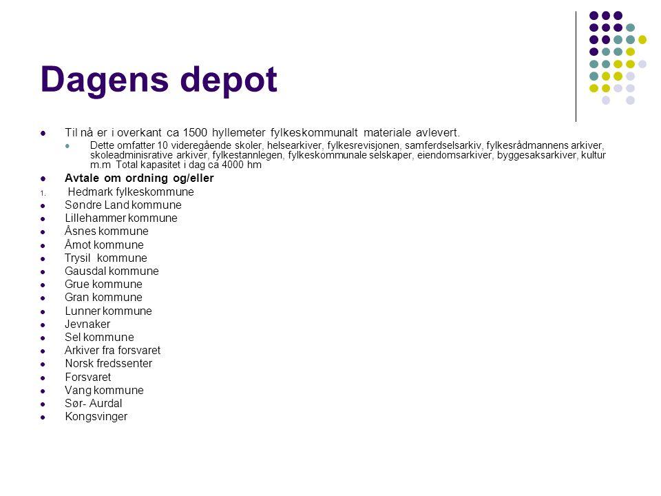 Dagens depot Til nå er i overkant ca 1500 hyllemeter fylkeskommunalt materiale avlevert.