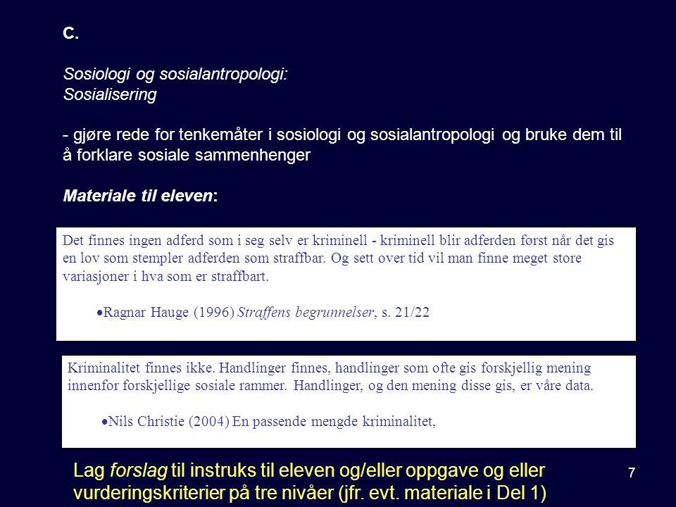 C. Sosiologi og sosialantropologi: Sosialisering.