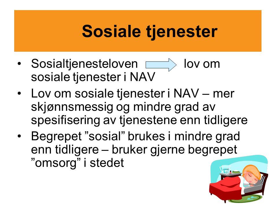 Sosiale tjenester Sosialtjenesteloven lov om sosiale tjenester i NAV