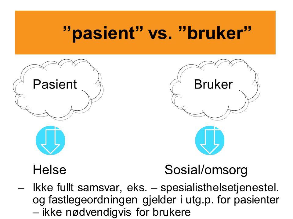 pasient vs. bruker Pasient Bruker Helse Sosial/omsorg