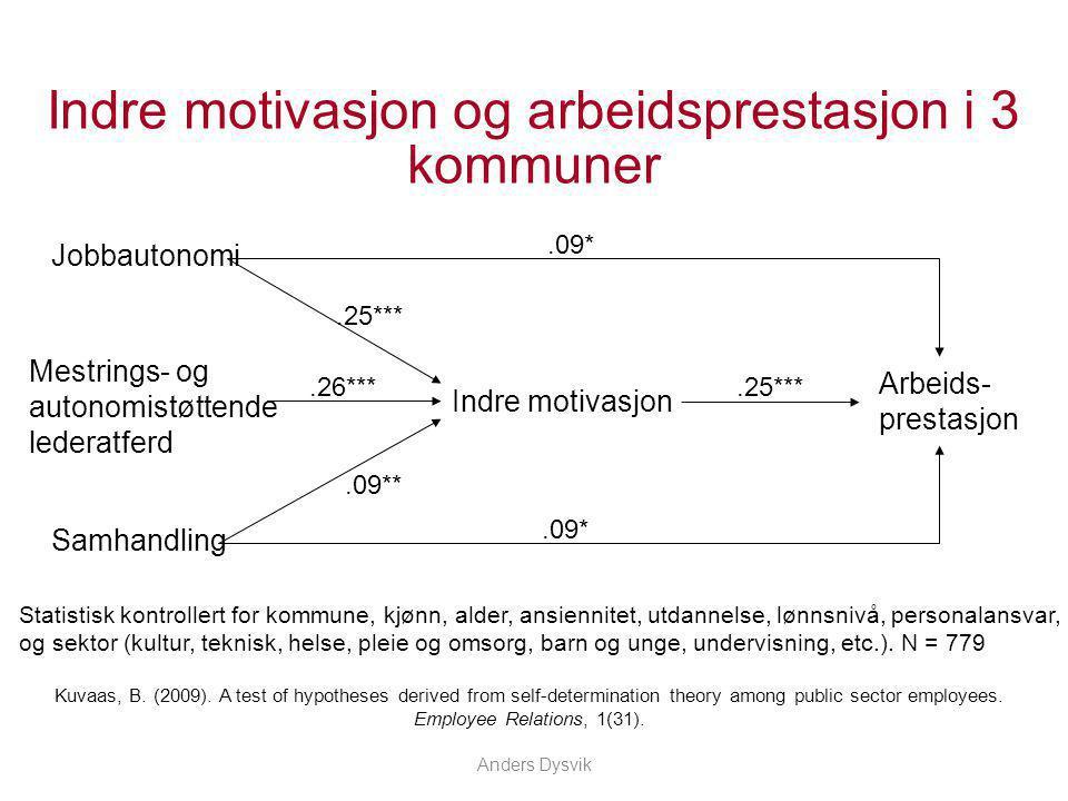 Indre motivasjon og arbeidsprestasjon i 3 kommuner