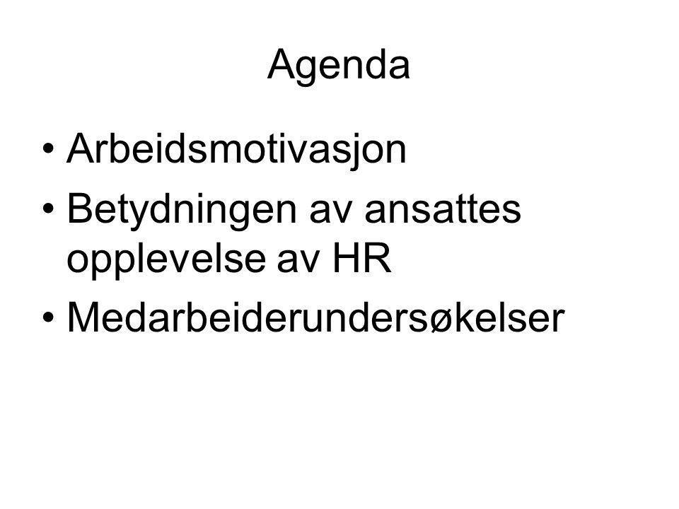 Agenda Arbeidsmotivasjon Betydningen av ansattes opplevelse av HR Medarbeiderundersøkelser