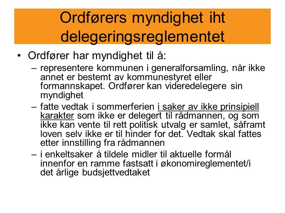 Ordførers myndighet iht delegeringsreglementet