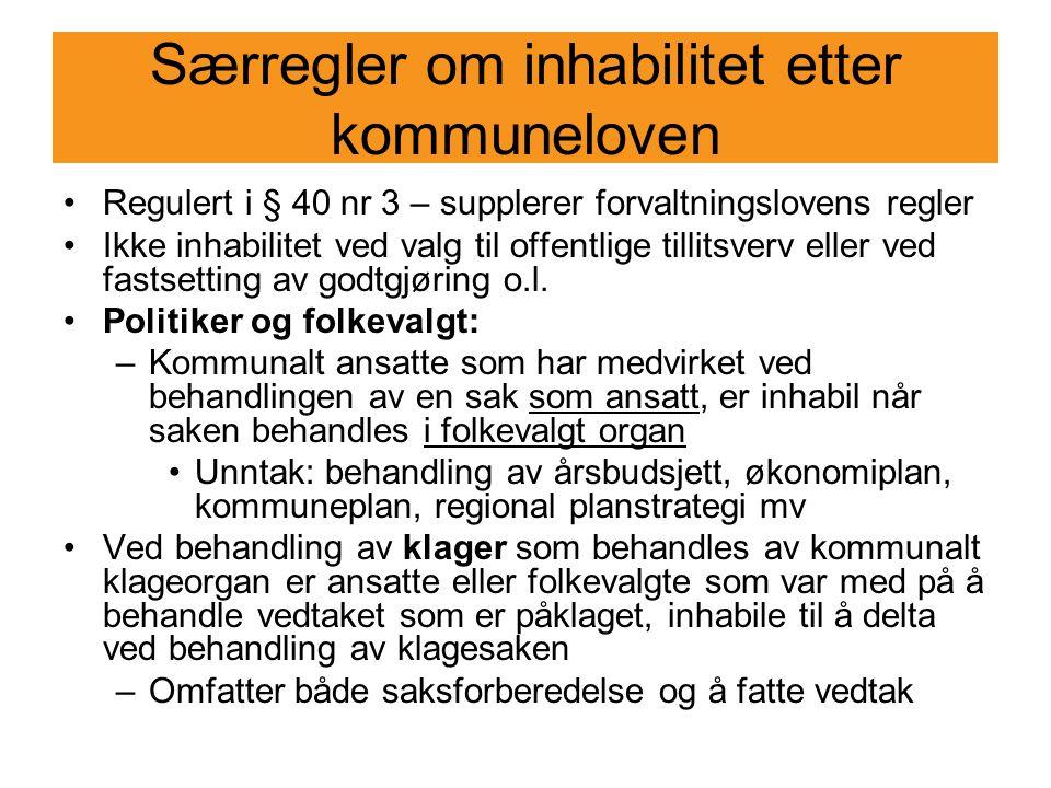 Særregler om inhabilitet etter kommuneloven