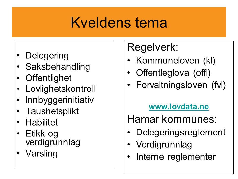 Kveldens tema Regelverk: Hamar kommunes: Delegering Kommuneloven (kl)