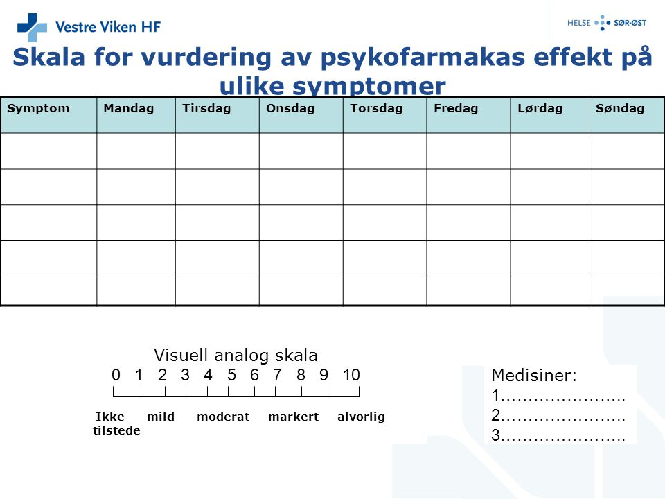 Skala for vurdering av psykofarmakas effekt på ulike symptomer