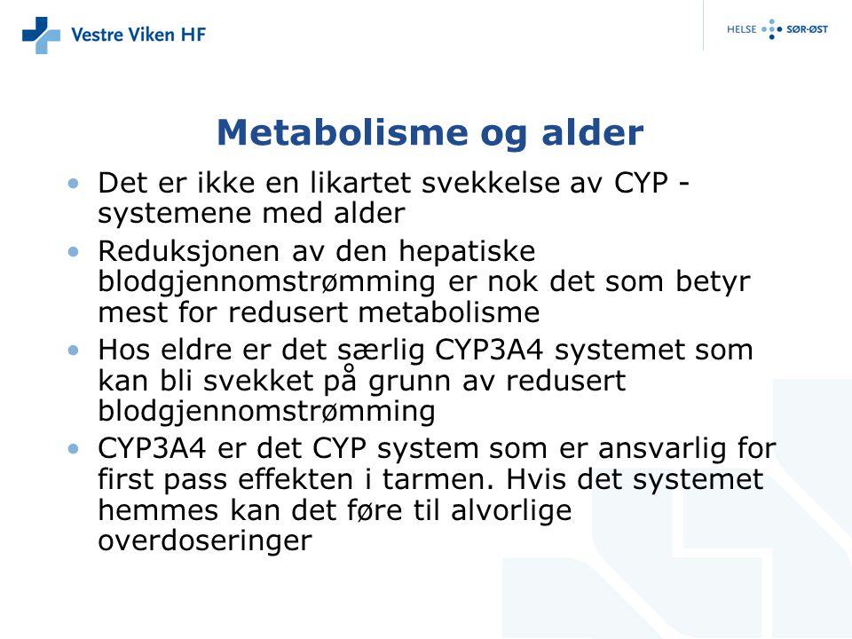 Metabolisme og alder Det er ikke en likartet svekkelse av CYP -systemene med alder.