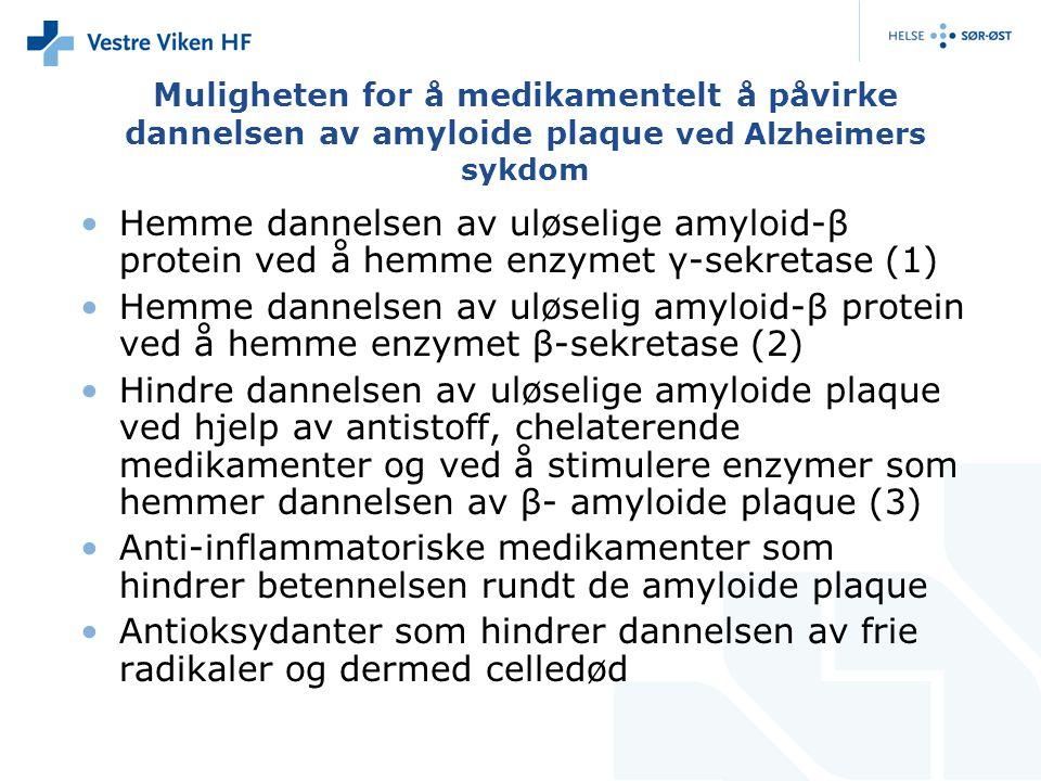 Muligheten for å medikamentelt å påvirke dannelsen av amyloide plaque ved Alzheimers sykdom