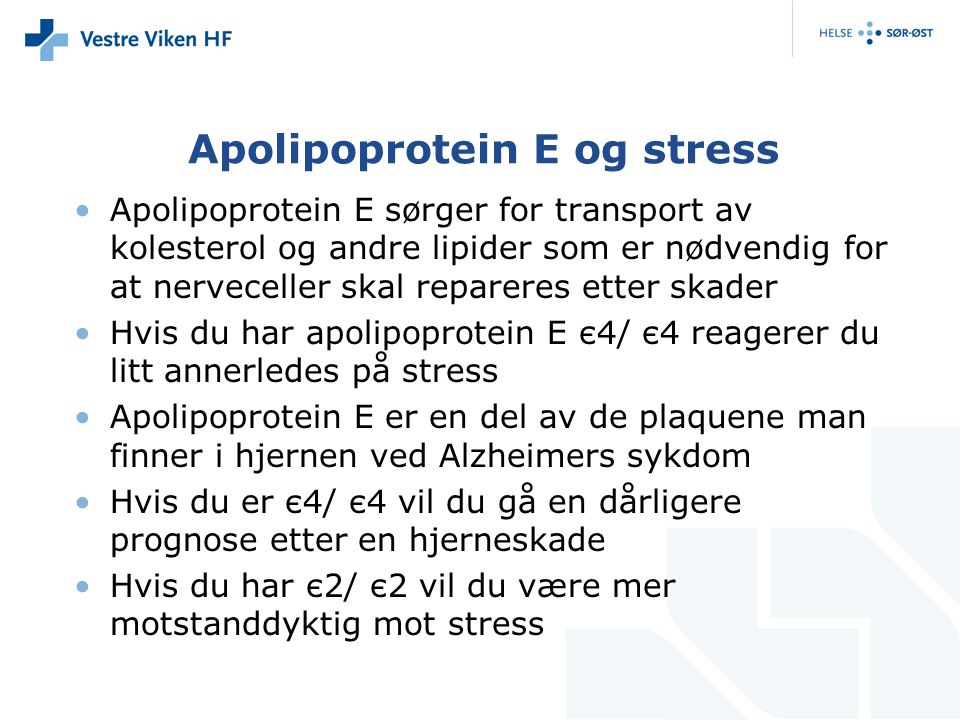 Apolipoprotein E og stress