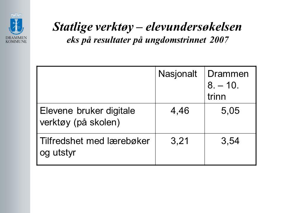 Statlige verktøy – elevundersøkelsen eks på resultater på ungdomstrinnet 2007
