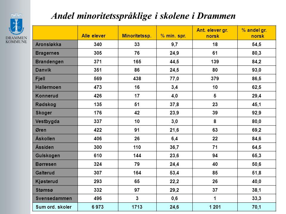 Andel minoritetsspråklige i skolene i Drammen