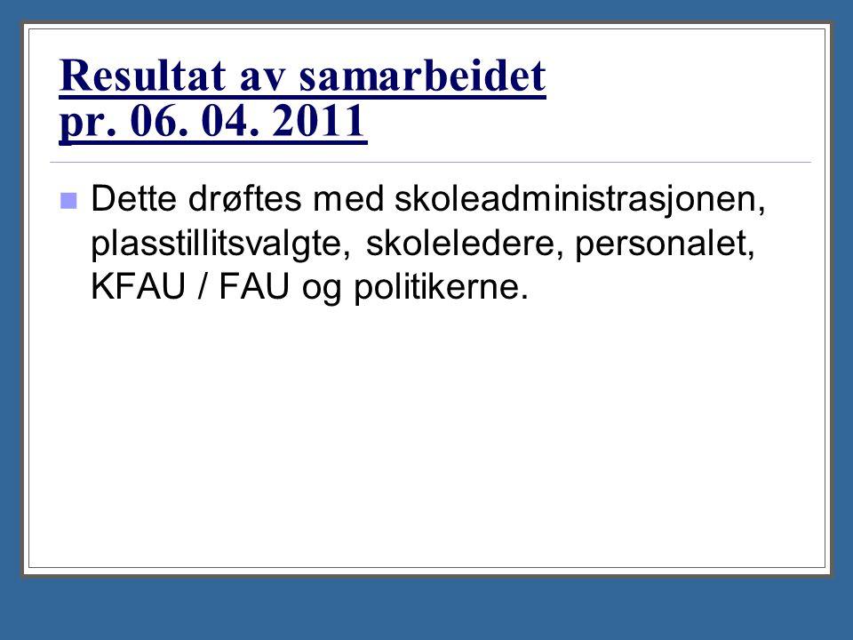 Resultat av samarbeidet pr. 06. 04. 2011