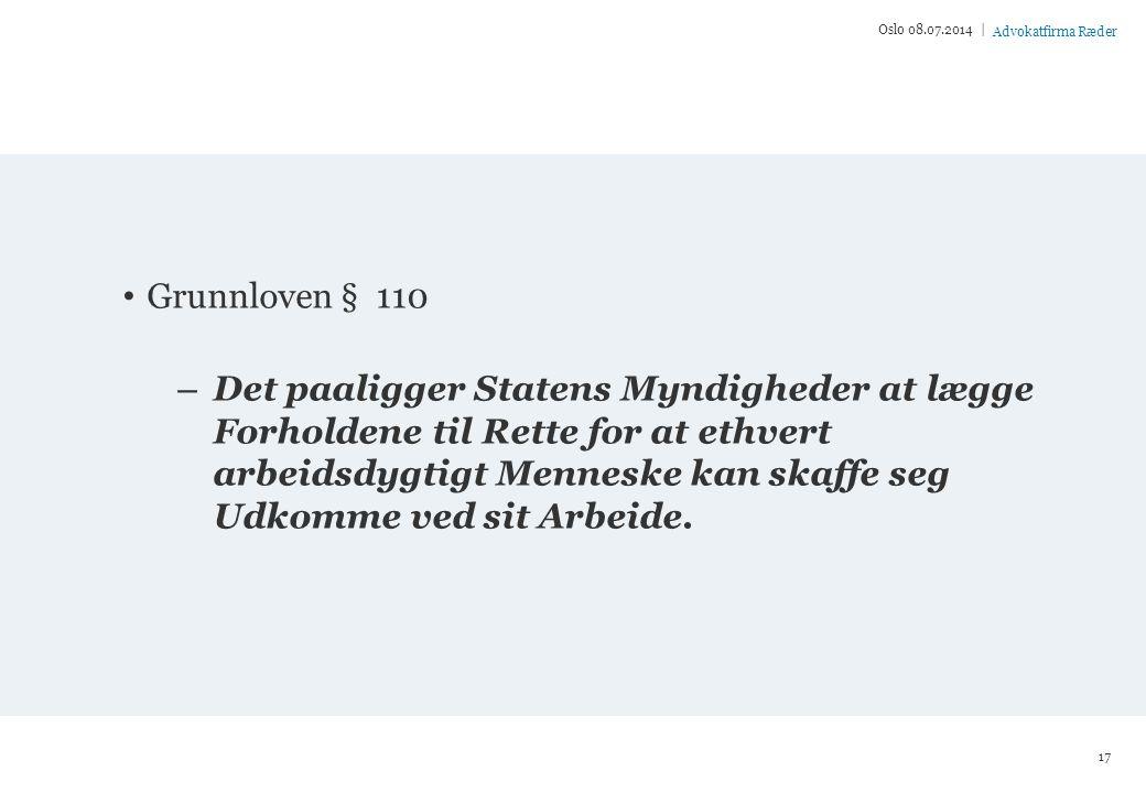 Oslo 04.04.2017 | Grunnloven § 110.