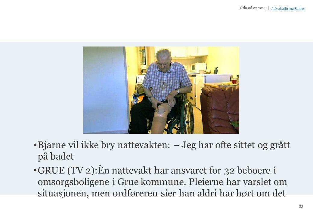 Oslo 04.04.2017 | Bjarne vil ikke bry nattevakten: – Jeg har ofte sittet og grått på badet.