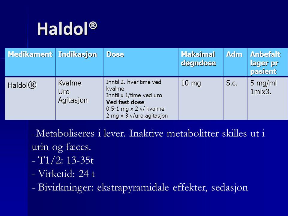 Haldol® T1/2: 13-35t Virketid: 24 t