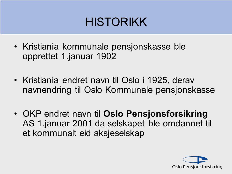 HISTORIKK Kristiania kommunale pensjonskasse ble opprettet 1.januar 1902.