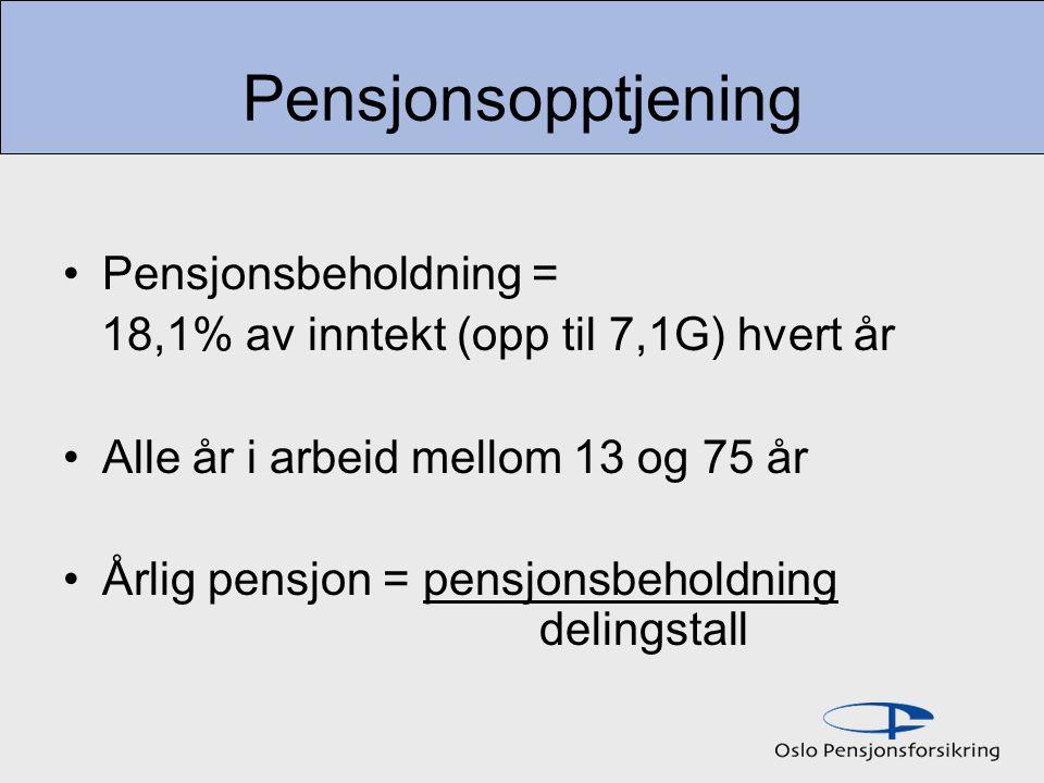 Pensjonsopptjening Pensjonsbeholdning =