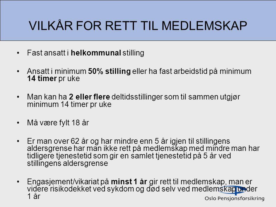 VILKÅR FOR RETT TIL MEDLEMSKAP