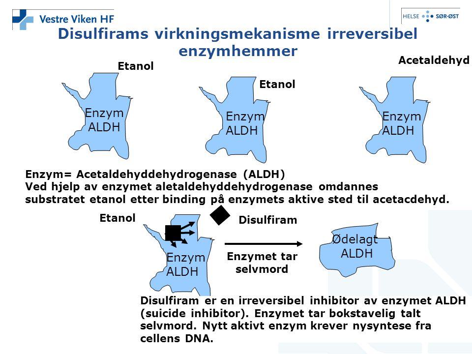 Disulfirams virkningsmekanisme irreversibel enzymhemmer