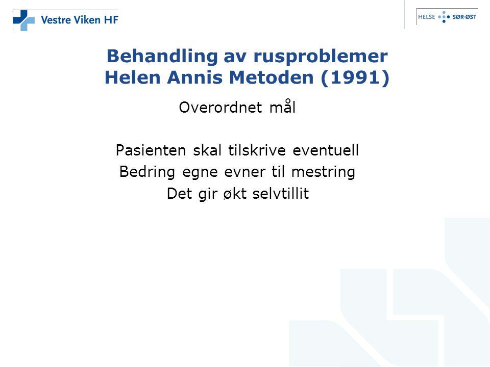 Behandling av rusproblemer Helen Annis Metoden (1991)
