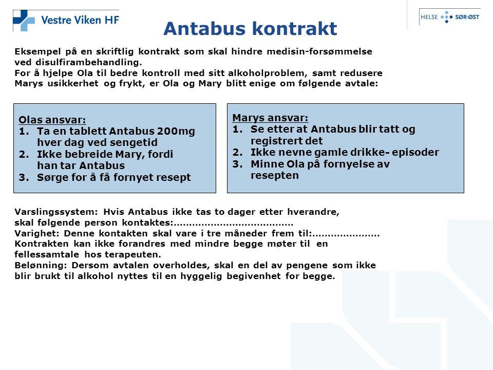 Antabus kontrakt Olas ansvar: Marys ansvar:
