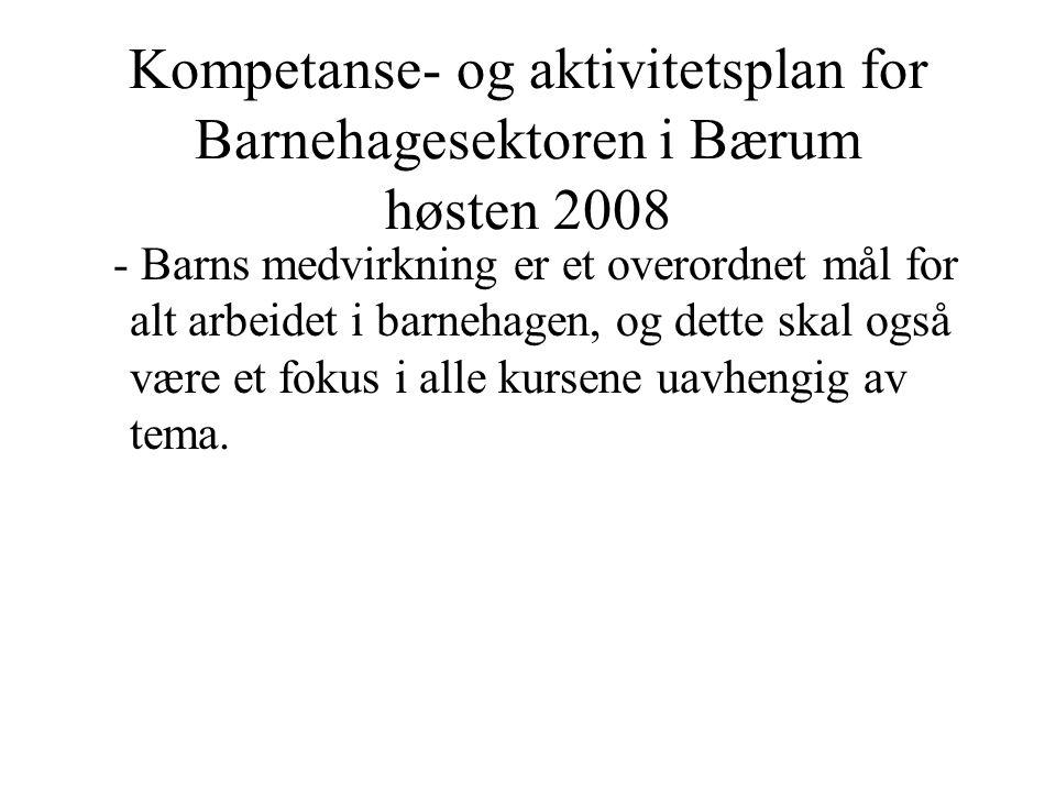 Kompetanse- og aktivitetsplan for Barnehagesektoren i Bærum høsten 2008