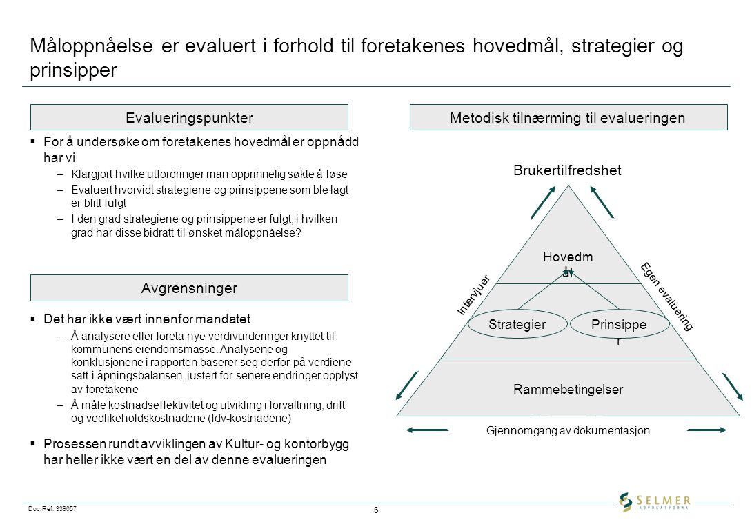 Måloppnåelse er evaluert i forhold til foretakenes hovedmål, strategier og prinsipper