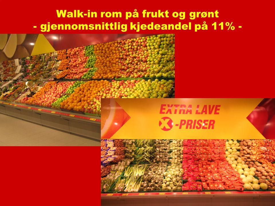 Walk-in rom på frukt og grønt - gjennomsnittlig kjedeandel på 11% -