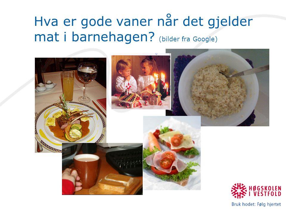 Hva er gode vaner når det gjelder mat i barnehagen (bilder fra Google)