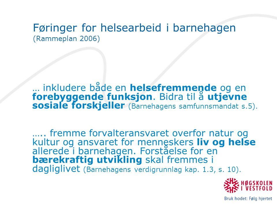 Føringer for helsearbeid i barnehagen (Rammeplan 2006)