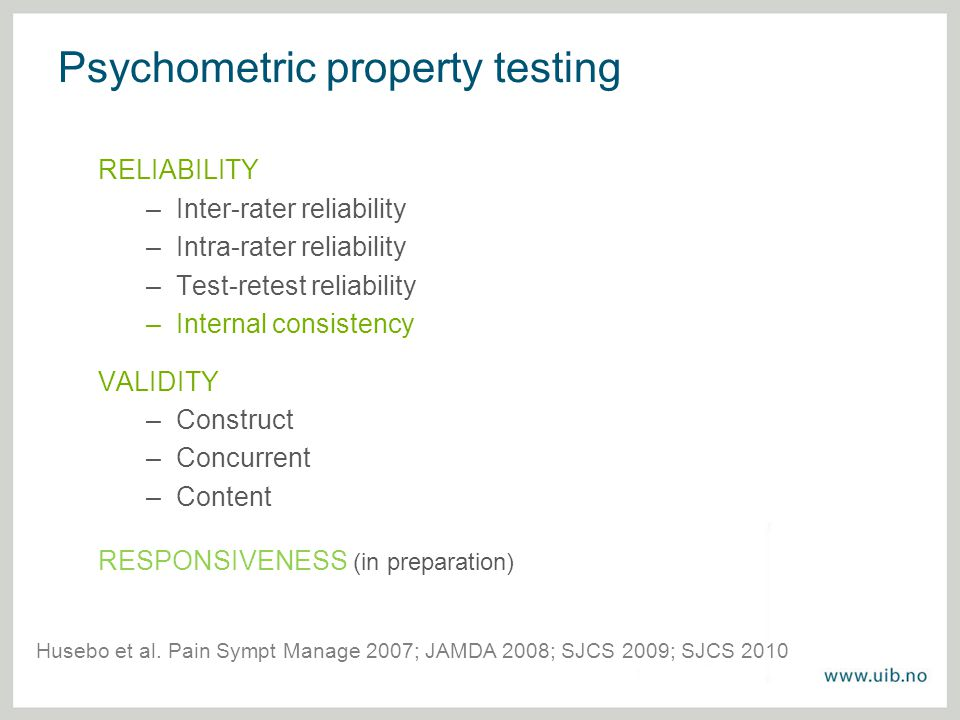 Psychometric property testing