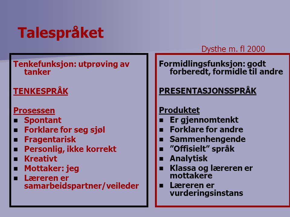 Talespråket Dysthe m. fl 2000