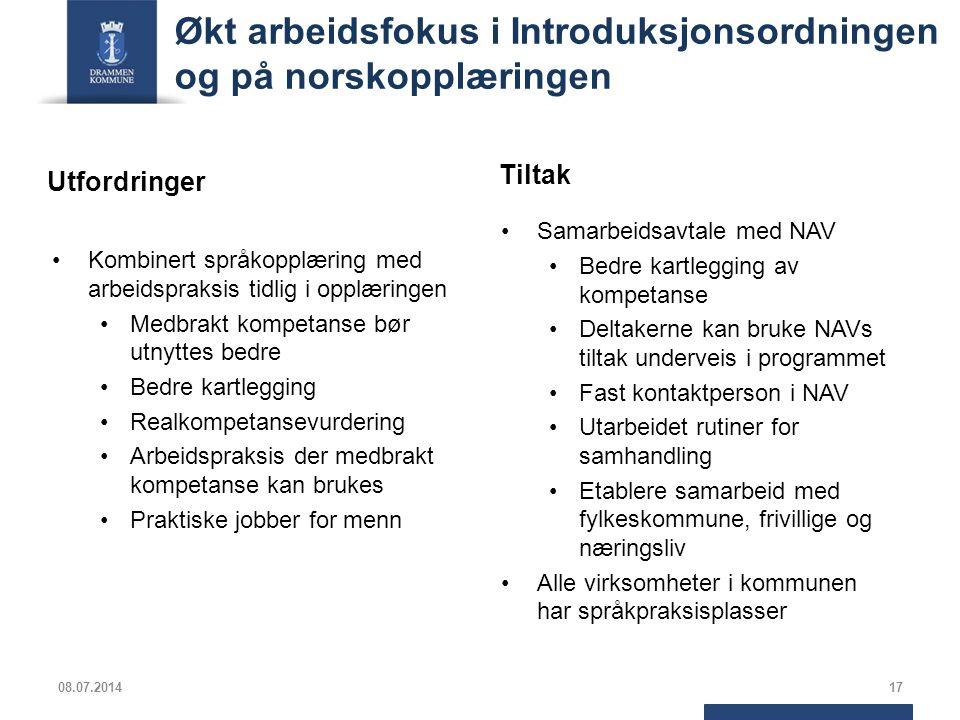 Økt arbeidsfokus i Introduksjonsordningen og på norskopplæringen