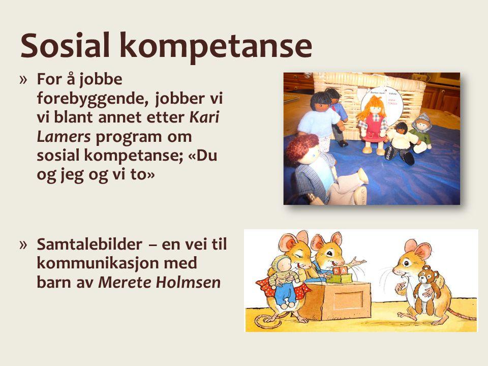 Sosial kompetanse For å jobbe forebyggende, jobber vi vi blant annet etter Kari Lamers program om sosial kompetanse; «Du og jeg og vi to»