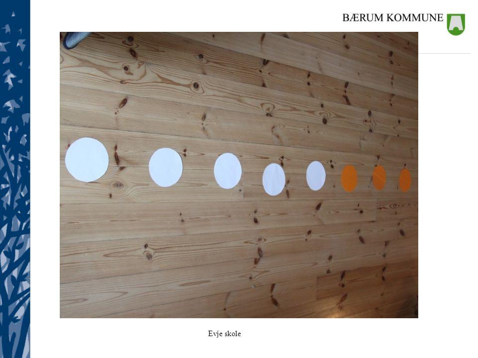 Tallinje på gulvet: laminerte pappsirkler med to ulike farger som er strukturert i 5'ere (ikke tallsymboler på)