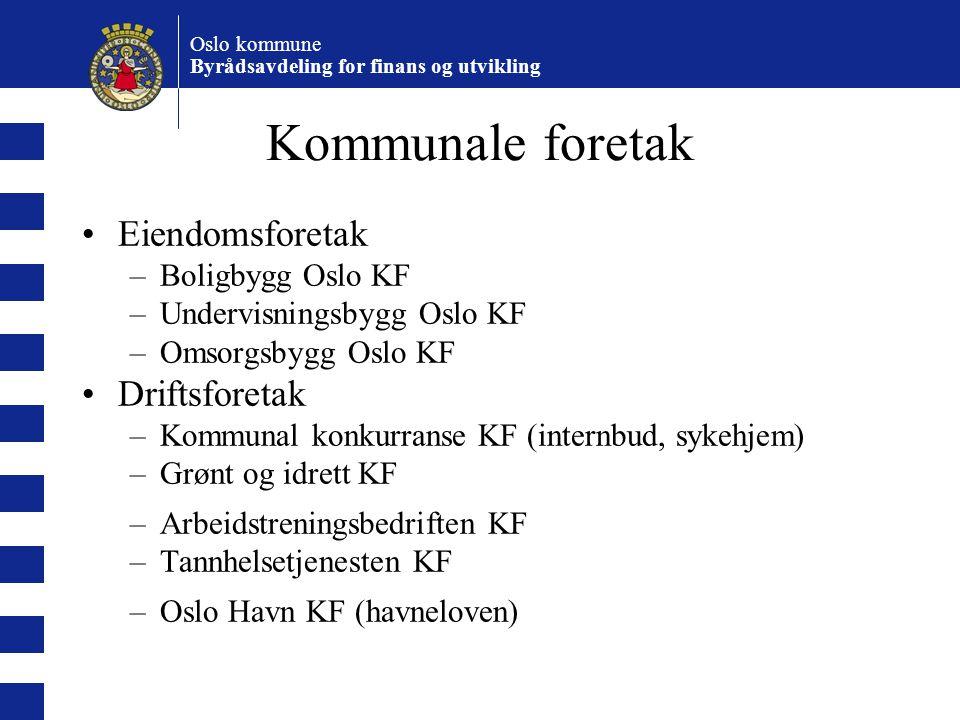 Kommunale foretak Eiendomsforetak Driftsforetak Boligbygg Oslo KF