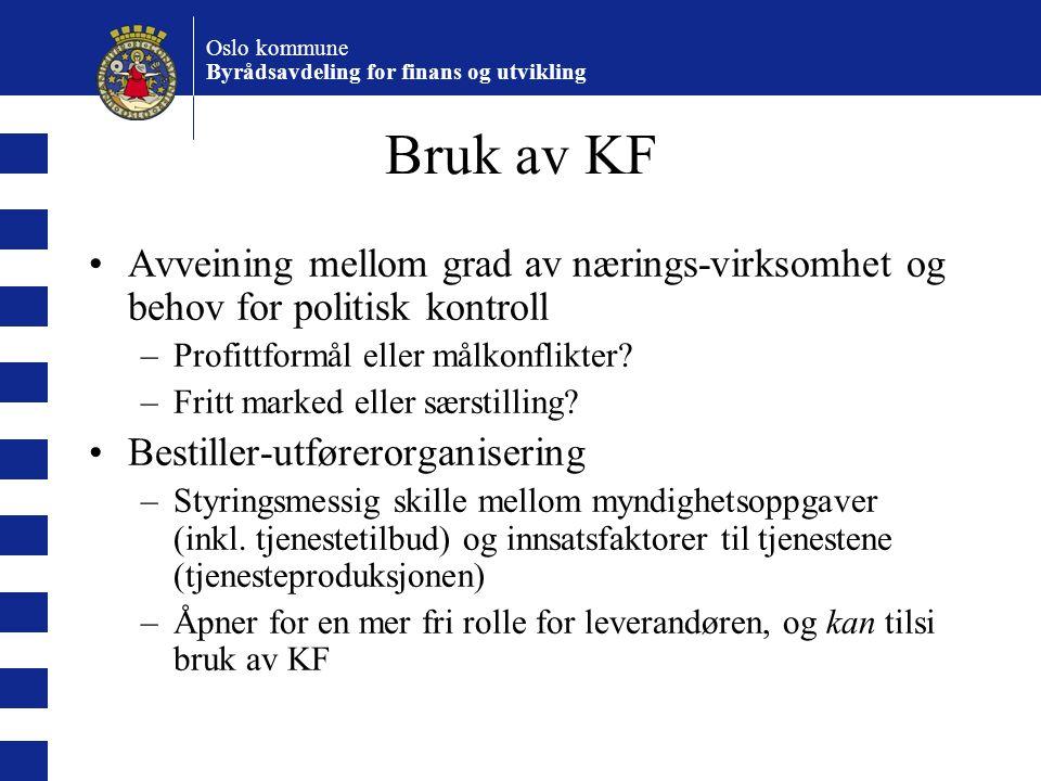 Bruk av KF Avveining mellom grad av nærings-virksomhet og behov for politisk kontroll. Profittformål eller målkonflikter