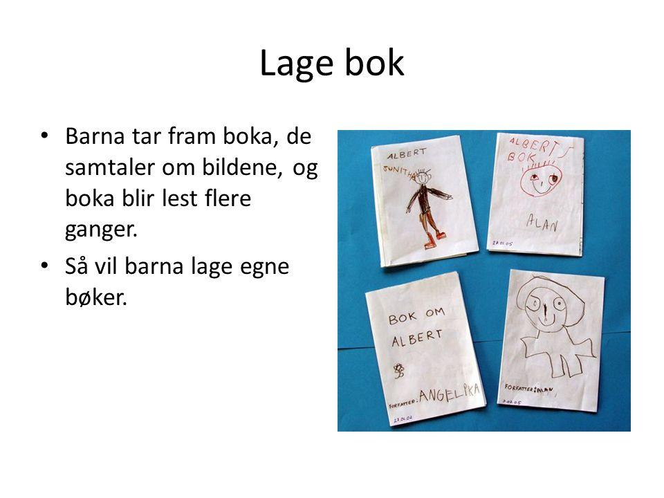 Lage bok Barna tar fram boka, de samtaler om bildene, og boka blir lest flere ganger.