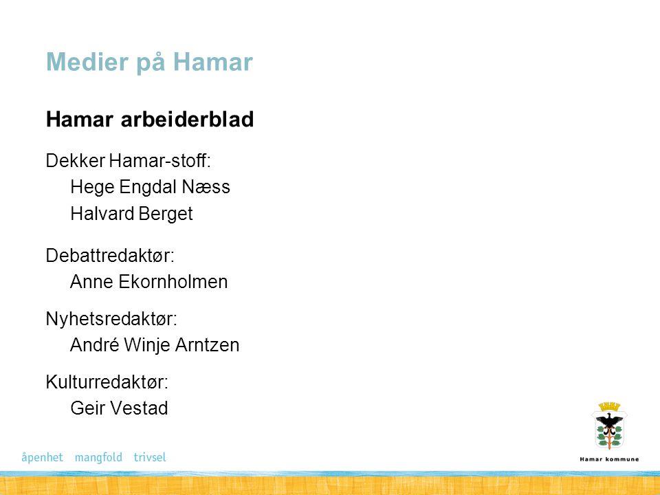 Medier på Hamar Hamar arbeiderblad Dekker Hamar-stoff: