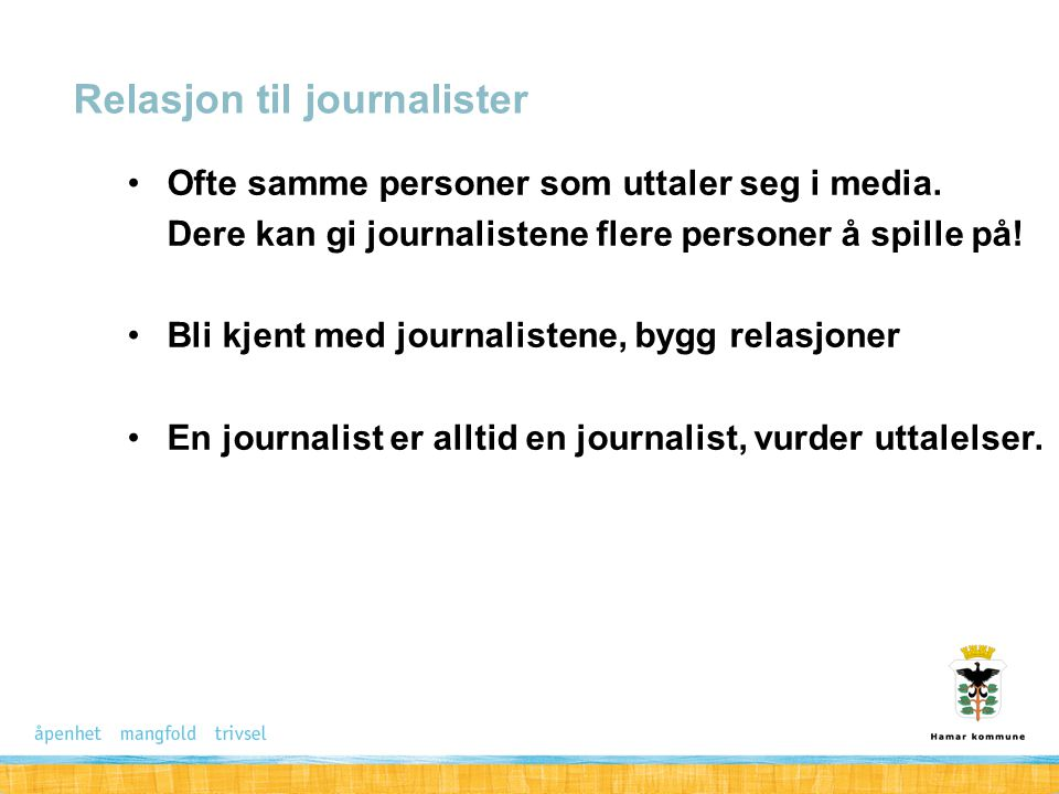 Relasjon til journalister