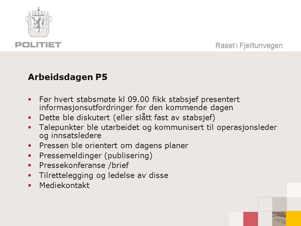 Raset i Fjelltunvegen Arbeidsdagen P5. Før hvert stabsmøte kl 09.00 fikk stabsjef presentert informasjonsutfordringer for den kommende dagen.