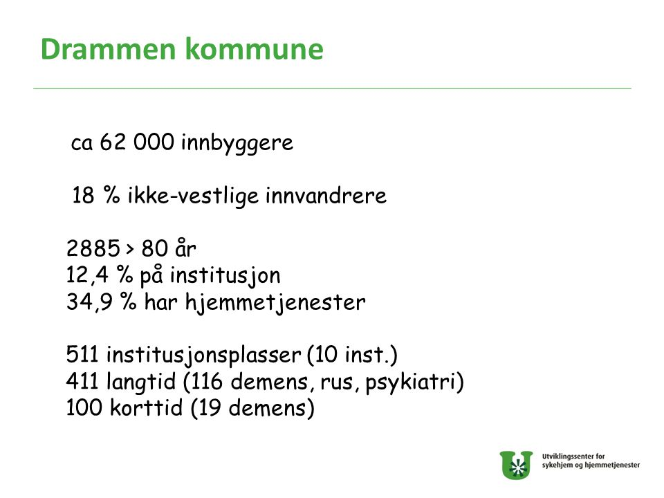 Drammen kommune 18 % ikke-vestlige innvandrere 2885 > 80 år