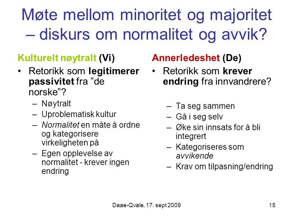 Møte mellom minoritet og majoritet – diskurs om normalitet og avvik