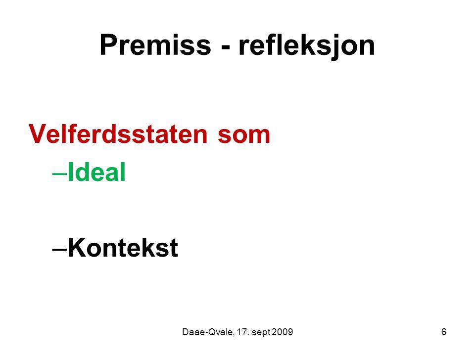 Premiss - refleksjon Velferdsstaten som Ideal Kontekst