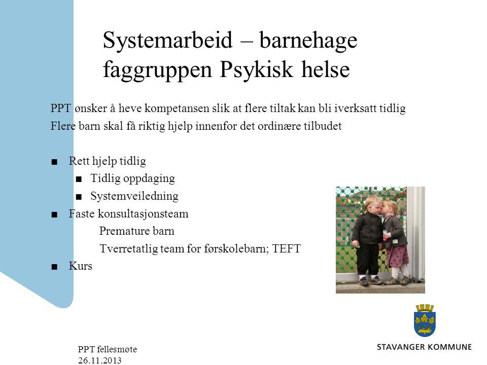 Systemarbeid – barnehage faggruppen Psykisk helse
